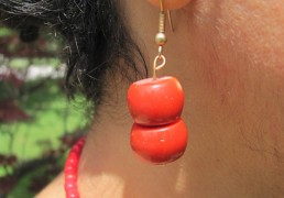 Large Red Coral Stone Earrings