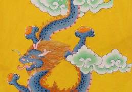 Blue Dragon on Yellow Background