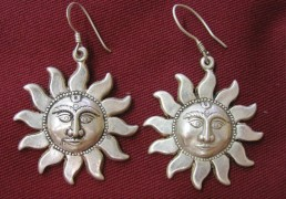 Large Silver Sun Earrings