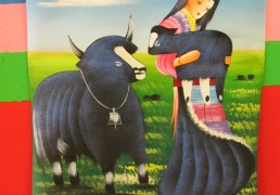 Tibetan Woman and Yaks Folk Art Painting