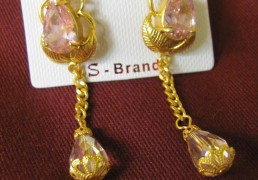 Pink Stone & Gold Tibetan Costume Earrings