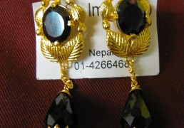 Large Black Stone & Gold Tibetan Costume Earrings