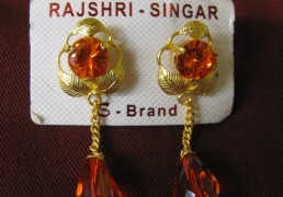 Red Stone & Gold Tibetan Costume Earrings