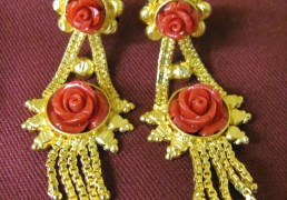 Gold & Coral Rose Tibetan Costume Earrings