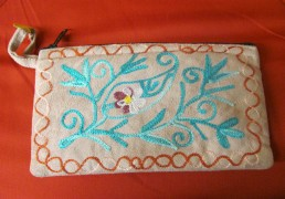 Hand-Made Embroidered Suede Nepalese Wallet