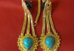 Large Turquoise & Gold Tibetan Costume Earrings