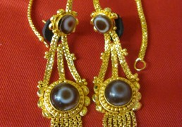 Round Dzi Stone & Gold Tibetan Costume Earrings