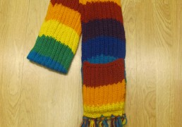 Hand-Knit Tibetan Wool Scarf with Built-In Mittens