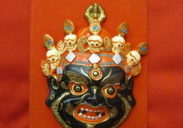 Small Hand-Painted Clay Mounted Tibetan Mask