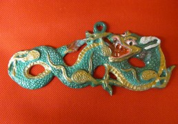 Hand-Painted Metal Dragon Wall Plaque