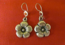 Silver Flower Tibetan Earrings