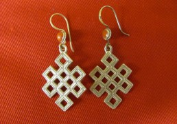 Large Silver Endless Knot Earrings