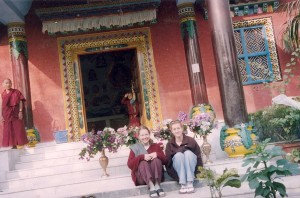 Sitting on the Temple Steps in Sarnath