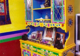 Traditional Hand-painted Tibetan Buddhist Shrine, Cabinet & Hutch