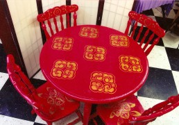 Hand-Painted Dining Room Table and Chairs