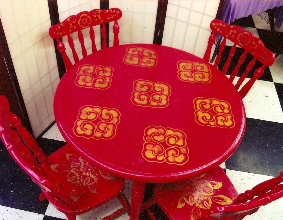 hand-painted dining room table and chairs - little moon tibetan