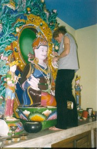Painting Guru Rinpoche's face