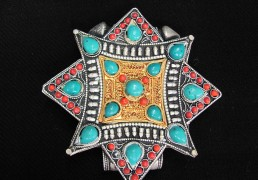 Large Silver & Gold, Coral & Turquoise Tibetan Gao