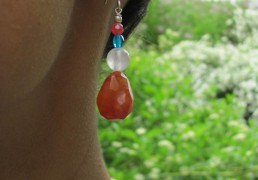 Hand-Beaded Stone & Crystal Earrings