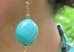 Polished Turquoise Stone Drop Earrings w/ Gold Hook