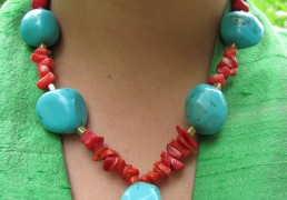 Large Turquoise Stones and Coral Chips Necklace