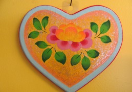 Heart Shaped Wooden Plaque with Lotus Flower