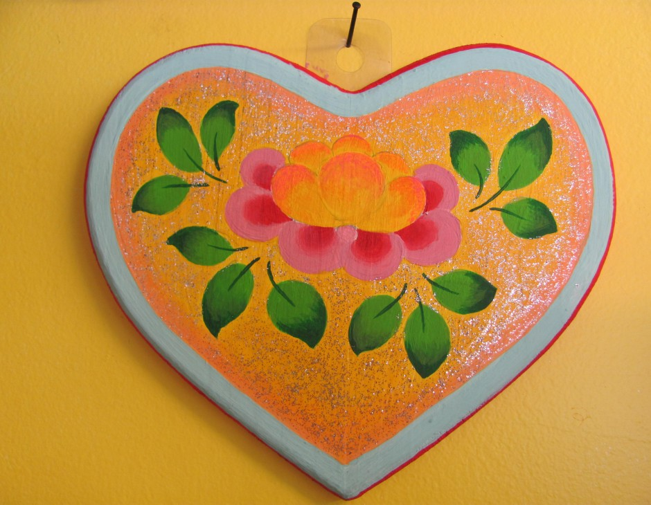 Heart Shaped Wooden Plaque With Lotus Flower Little Moon Tibetan