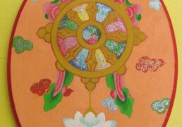 Dharma Wheel Wooden Plaque