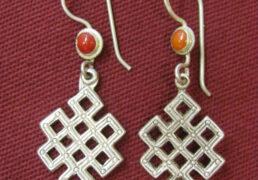 Silver Tibetan Eternal Knot Earrings