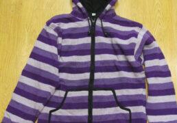 Purple Stripes Tibetan Knit Wool Hooded Jacket