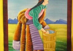 Tibetan Woman Folk Art Painting