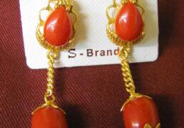 Gold & Coral Tibetan Costume Earrings