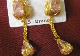 Pink Stone & Gold Tibetan Costume Earrings