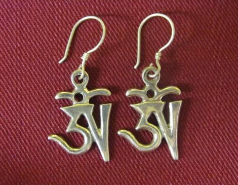 Silver Om Earrings