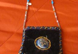 Hand-Beaded Velvet Tibetan Bag