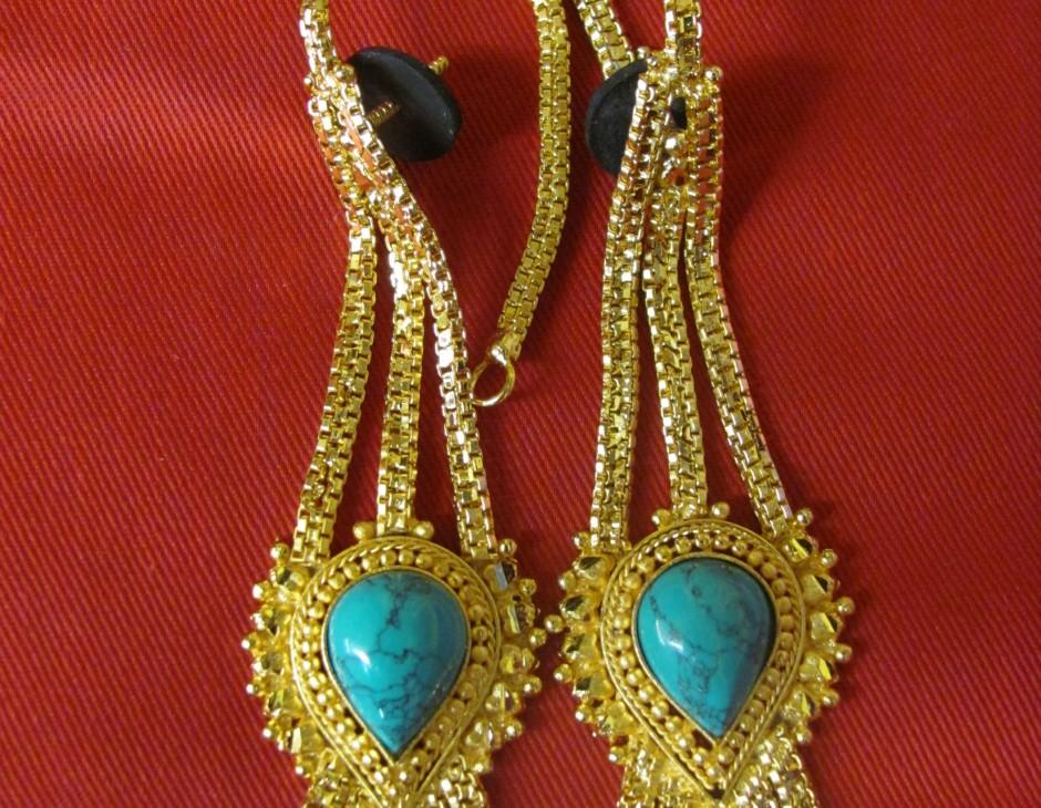 Large Turquoise Gold Tibetan Costume Earrings