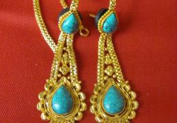 Medium Turquoise & Gold Tibetan Costume Earrings