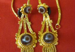 Round Dzi Stone & Gold Tibetan Costume Earrings