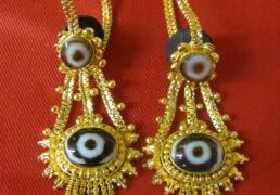 Oval Shaped Dzi Stone & Gold Tibetan Costume Earrings