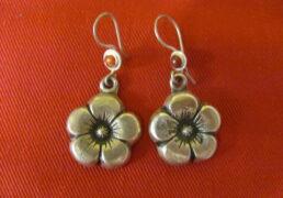 Silver Flower Tibetan Earrings