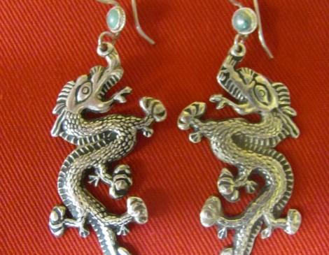 Silver Bhutanese Dragon Earrings