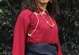 Red Tibetan Raw Silk Shirt