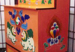 Traditional Hand-Painted Tibetan Buddhist Shrine, 2-tiered