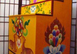 Traditional Hand-painted Tibetan Buddhist Shrine, 3-tiered