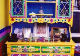 Traditional Hand-painted Tibetan Buddhist Shrine, Cabinet & Hutch