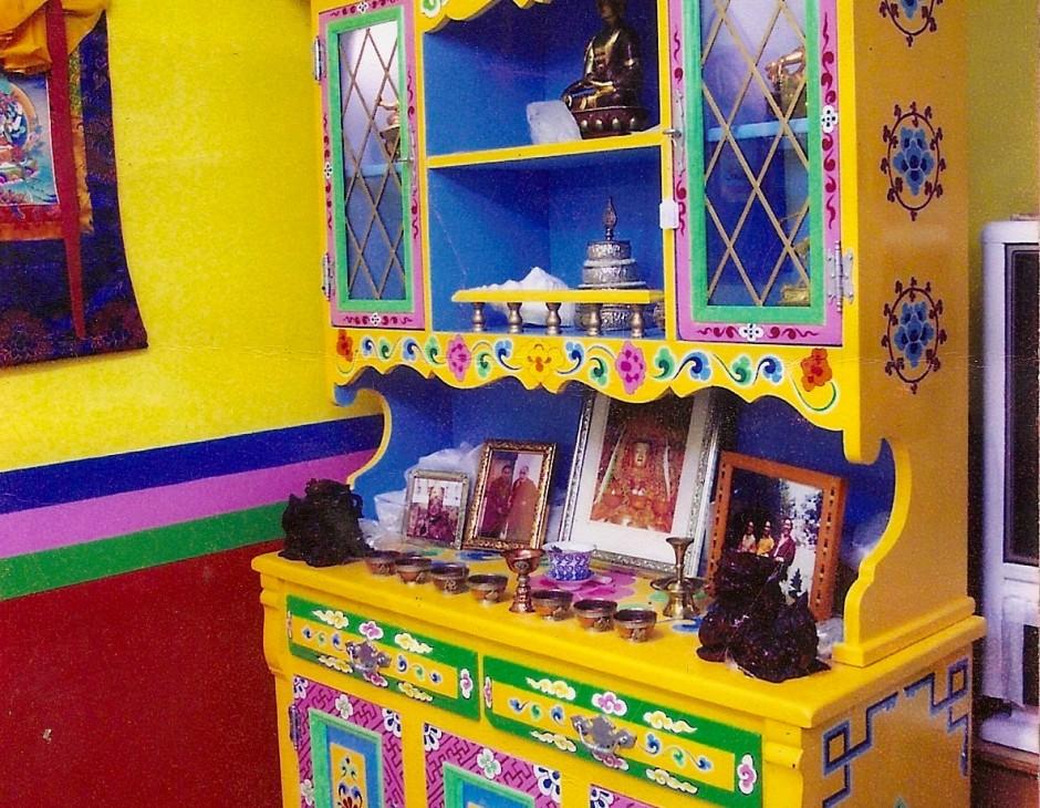 Traditional Hand Painted Tibetan Buddhist Shrine, Cabinet U0026 Hutch
